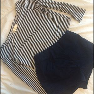 Striped crop top and Urban Outfitter shorts Bundle
