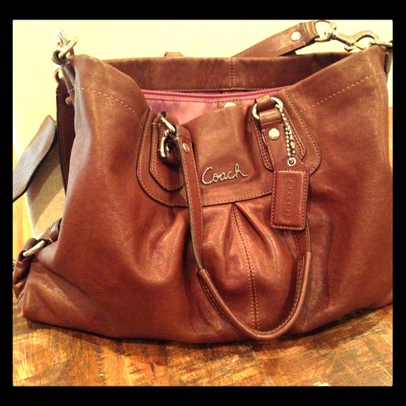 3ecc9793d46ce Coach Bags | Handbag Brown Leather With Purple Lining | Poshmark