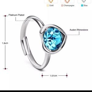 Swarovski Platinum Blue Auden Crystal Heart Ring