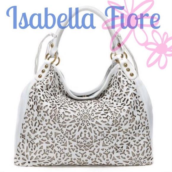 Isabella Fiore white laser cut handbag