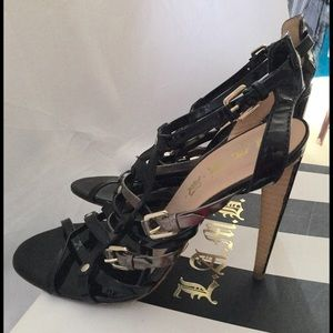 L.A.M.B. Black Pewter Leather Strappy Heels Sz 7.5