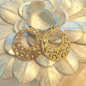 Antiqued Gold Tone Earrings