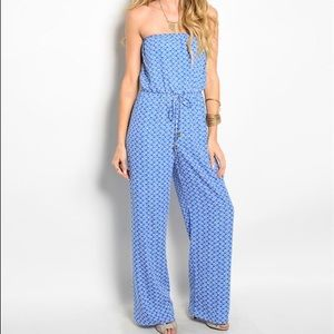 Blue Patterned Jumpsuit-MEDIUM