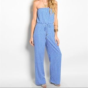 LAST ONE‼️Blue Patterned Jumpsuit-SMALL