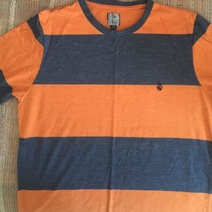 Men's small orange and blue striped tee