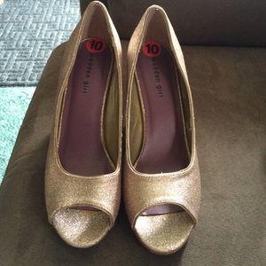 Gold Glitter Platform Peep-Toes