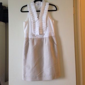 NEWLY-REDUCED LOFT Gold/White Ruffle-Collar Dress