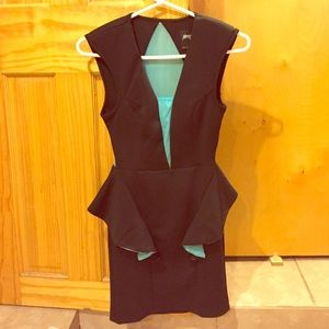 Black and Aqua peplum dress