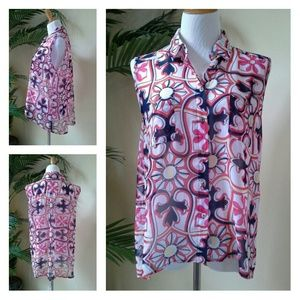Quintessential Tops - Quintessential Red White Blue Pink Yellow Top