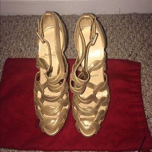 70% off Christian Louboutin Shoes - Christian Louboutin Gold ...