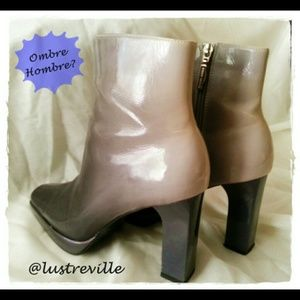 Gray Ombre Patent Bootie