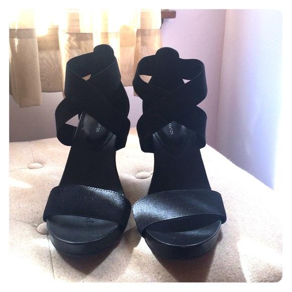 Bcbgeneration Shoes Black Elastic Wedge Sandals Poshmark