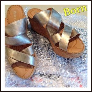 Born Gold Leather Cork Wedge Sandals NWOT