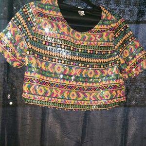 Sequins crop top shirt