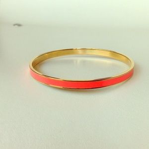 Neon coral pink gold bangle cuff bracelet NEW