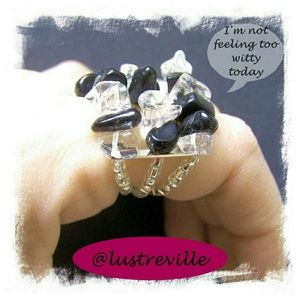 Blackstone & Quartz Crystal Chunky Chip Ring