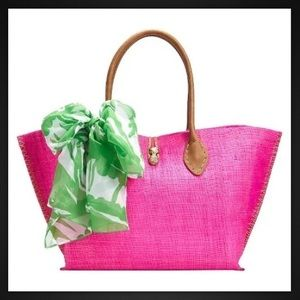 Lilly for Target pink boom boom raffia tote