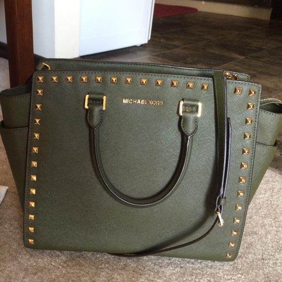37% off MICHAEL Michael Kors Handbags - Studded olive green ...