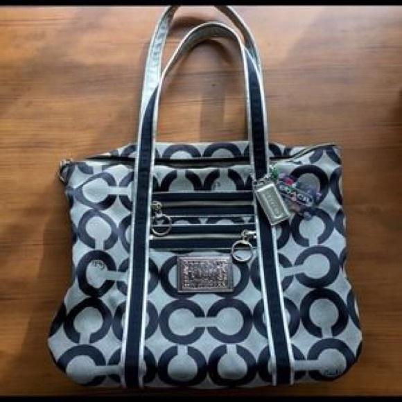 coach bags poppy black silver purse poshmark rh poshmark com