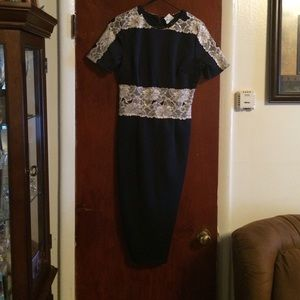 Beautiful Navy Blue & beige(lace) dress