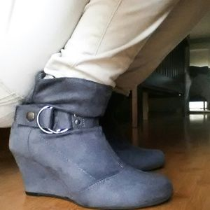 Traffic Boots - Grey Wedge Booties Size 7