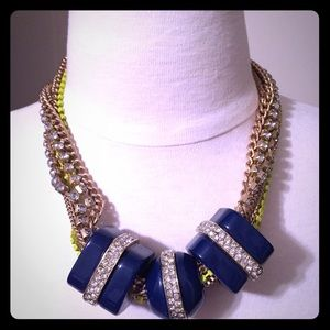 Royal blue and neon gold chain statement necklace