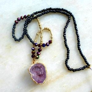 Jewelry - Rare raw amethyst druzy beaded necklace pendant