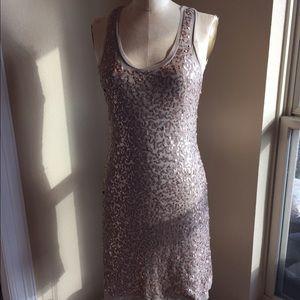 Max Studio stretch mesh w beading tank dress sz M