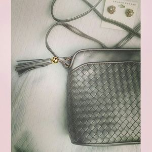 Vintage Crossbody Bag Metallic Woven Leather Purse