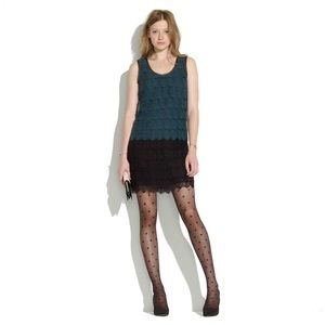 Madewell Lace Feather Shift Dress - Teal & Black