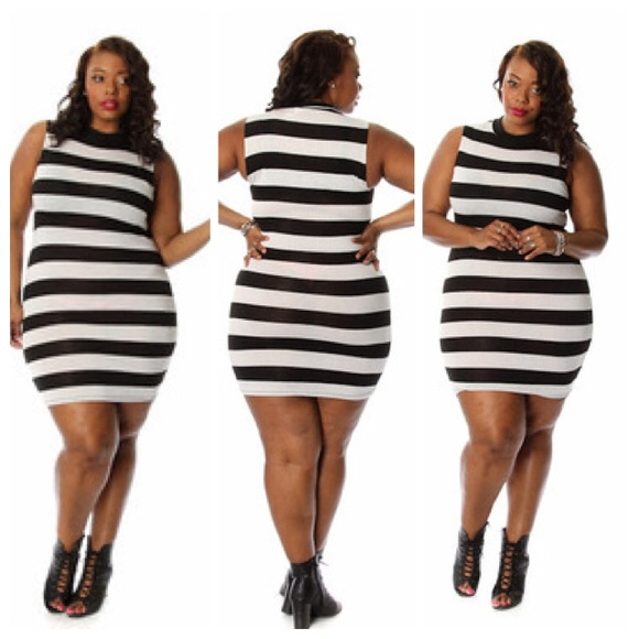 baff0ebfe94 Black   white stripe plus size Bodycon dress