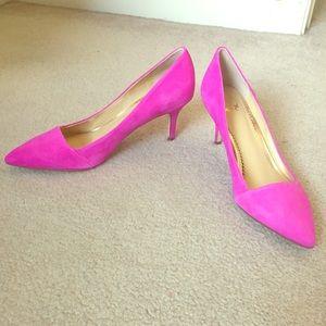 Pink Suede Kitten Heels