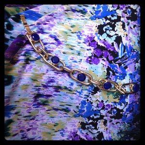 Kate Spade Gold Chain Link Bracelet w/Blue Accents