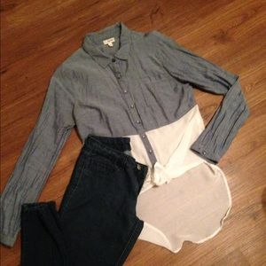 Lily White denim high low top