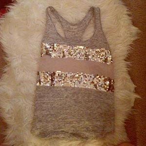 Gray Express tank top with sequins