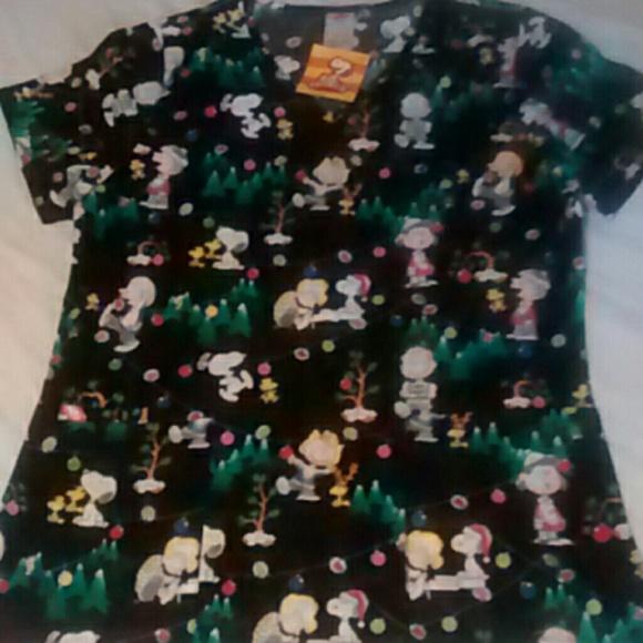 cafa9080a52 Charlie Brown Christmas scrub top NWT. M_5575d5e7b4188e4d45009cc7