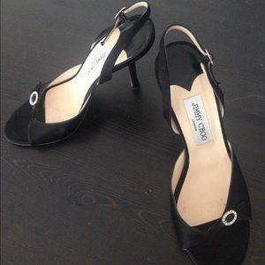 Jimmy Choo Black Satin Shoes Size 40 US 10