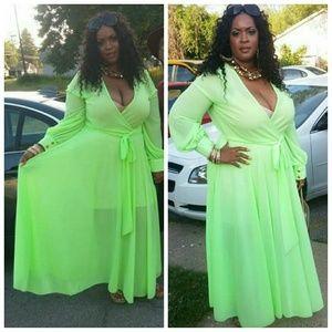 PLUS SIZE Sheer Maxi Wrap Dress NWT