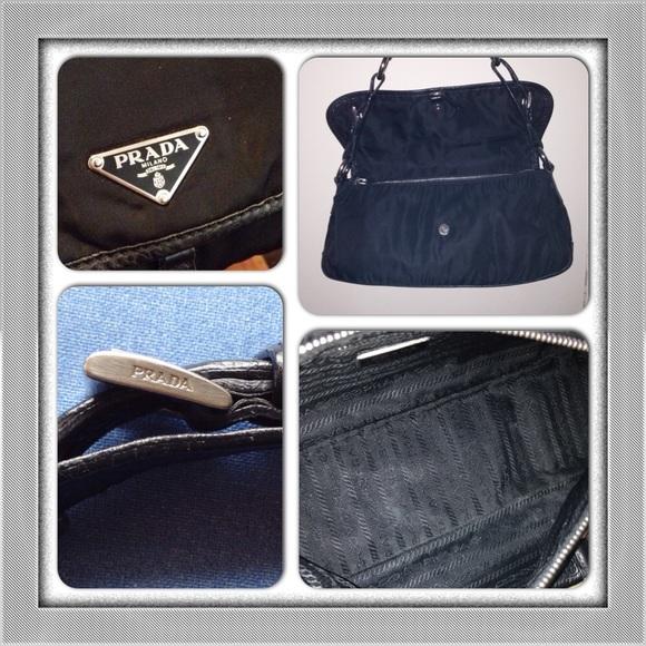 88% off Prada Handbags - PRADA Blk Tessuto Nylon Front Flap ...