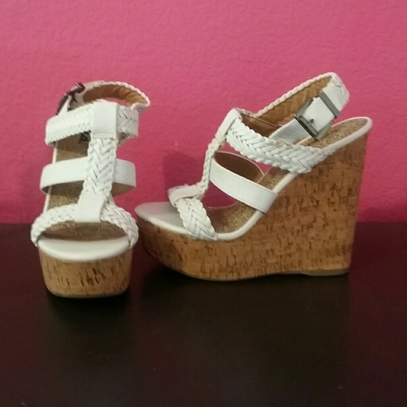 20 soda shoes white and cork wedge from s