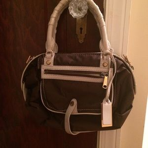 "GRYSON ""SKYE"" Brown/cream leather trim handbag"
