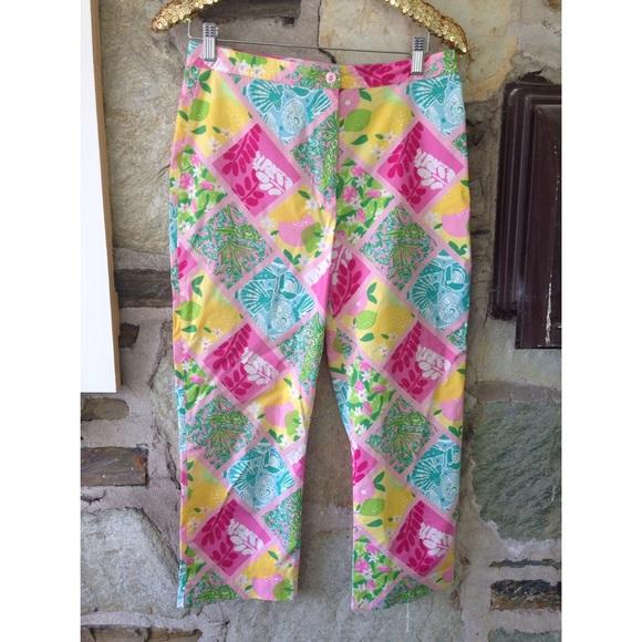Lilly Pulitzer patchwork capri pants sz 8