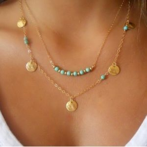 Jewelry - Turquoise gold necklace boho layer
