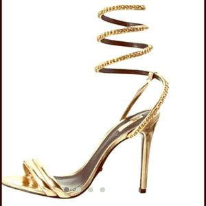 33% off SCHUTZ Shoes - Gold ankle strap heels from Alondra's ...
