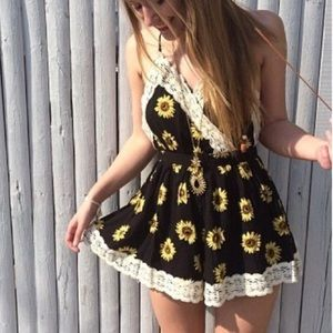 LF backless sunflower romper