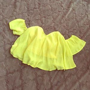 Tops - Neon Yellow crop top💛