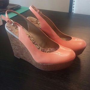SAM EDELMAN CORAL CORK WEDGES SZ 8.5