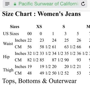 Pacsun size chart hobit fullring co