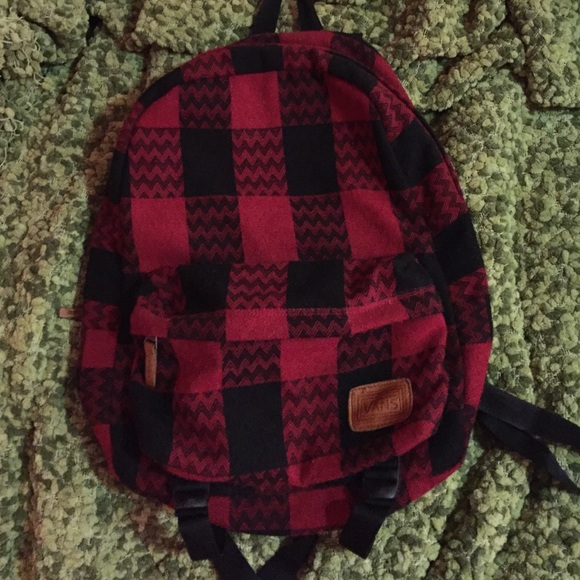 Vans Bags Black And Red Checkered Fabric Backpack Poshmark