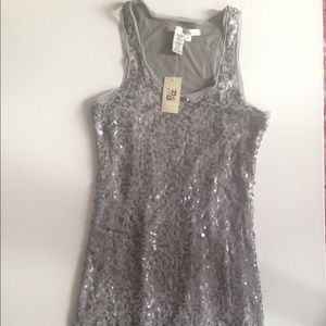 NWT Max Studio silver sequin mini dress size med
